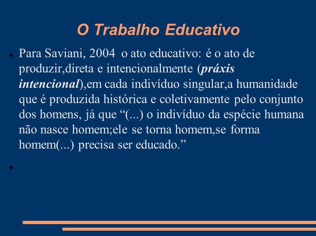 O Trabalho Educativo Para Saviani, 2004 o ato educativo: é o ato de produzir,direta e intencionalmente (práxis intencional),em cada indivíduo singular