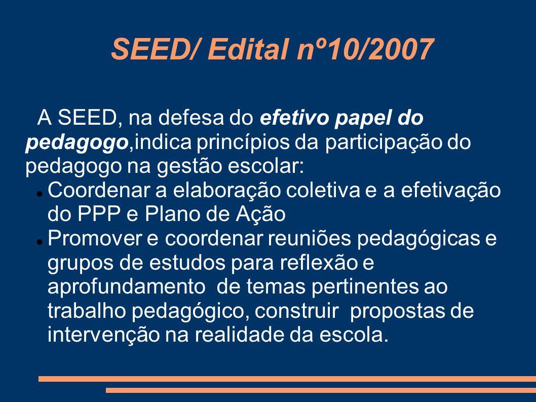 SEED/ Edital nº10/2007 A SEED, na defesa do efetivo papel do pedagogo,indica princípios da participação do pedagogo na gestão escolar: Coordenar a ela