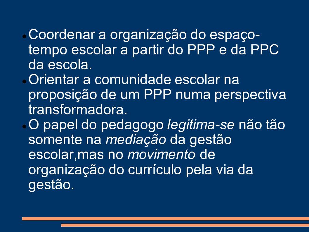 Coordenar a organização do espaço- tempo escolar a partir do PPP e da PPC da escola. Orientar a comunidade escolar na proposição de um PPP numa perspe