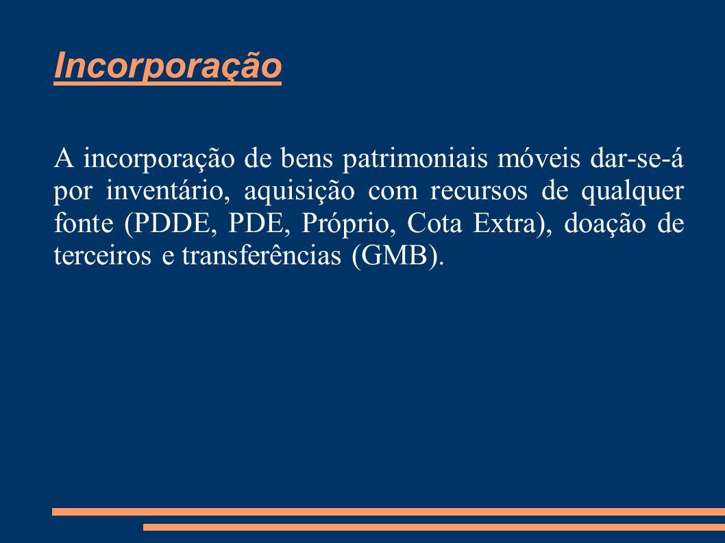 Incorporação A incorporação de bens patrimoniais móveis dar-se-á por inventário, aquisição com recursos de qualquer fonte (PDDE, PDE, Próprio, Cota Ex
