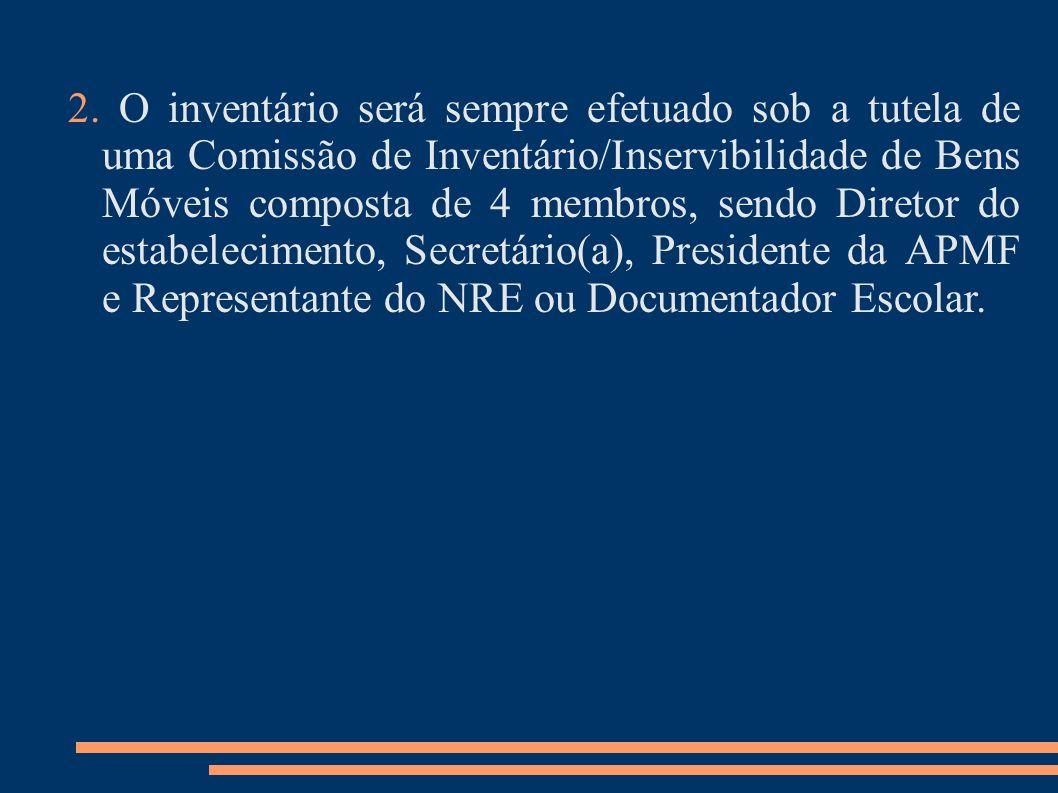 2. O inventário será sempre efetuado sob a tutela de uma Comissão de Inventário/Inservibilidade de Bens Móveis composta de 4 membros, sendo Diretor do