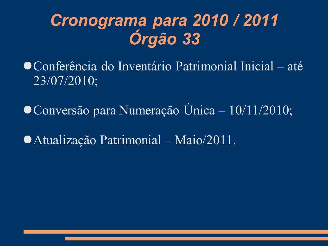 Cronograma para 2010 / 2011 Órgão 33 Conferência do Inventário Patrimonial Inicial – até 23/07/2010; Conversão para Numeração Única – 10/11/2010; Atua
