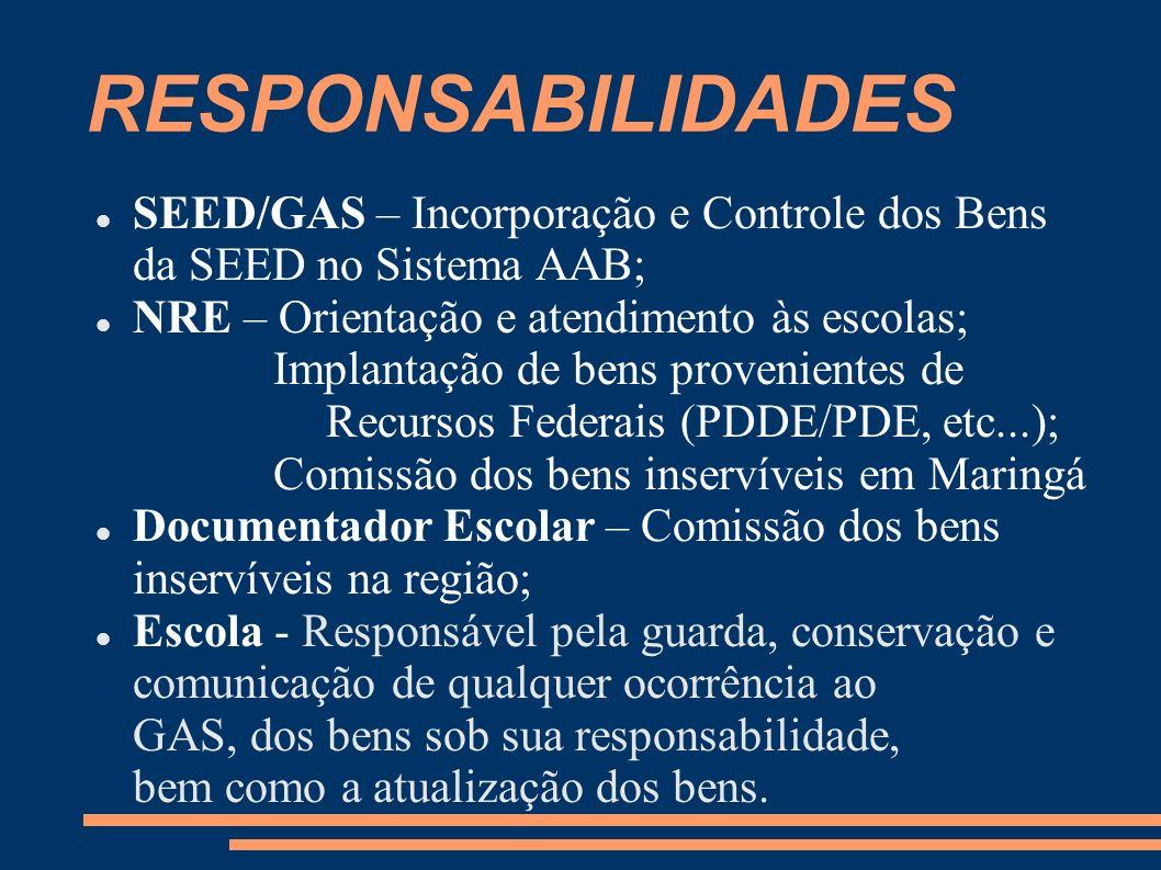 RESPONSABILIDADES SEED/GAS – Incorporação e Controle dos Bens da SEED no Sistema AAB; NRE – Orientação e atendimento às escolas; Implantação de bens p
