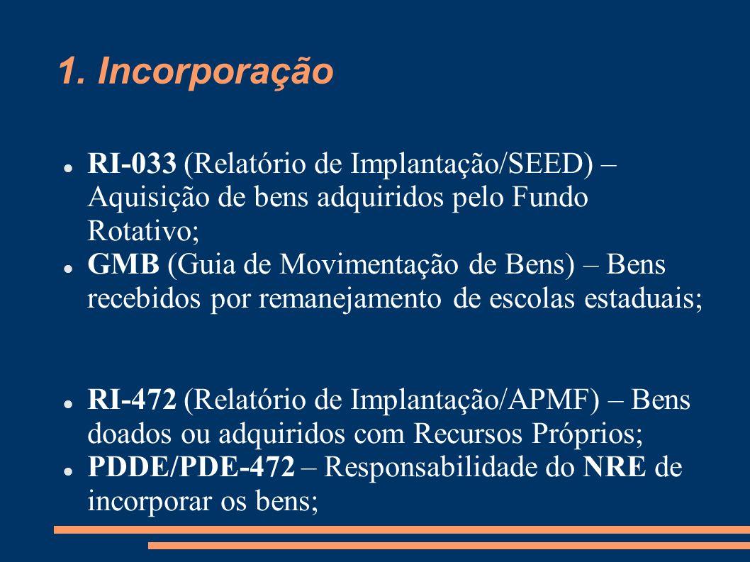 1. Incorporação RI-033 (Relatório de Implantação/SEED) – Aquisição de bens adquiridos pelo Fundo Rotativo; GMB (Guia de Movimentação de Bens) – Bens r