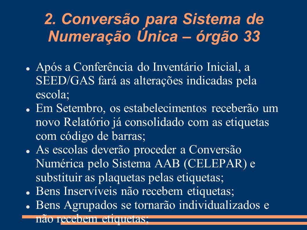 2. Conversão para Sistema de Numeração Única – órgão 33 Após a Conferência do Inventário Inicial, a SEED/GAS fará as alterações indicadas pela escola;