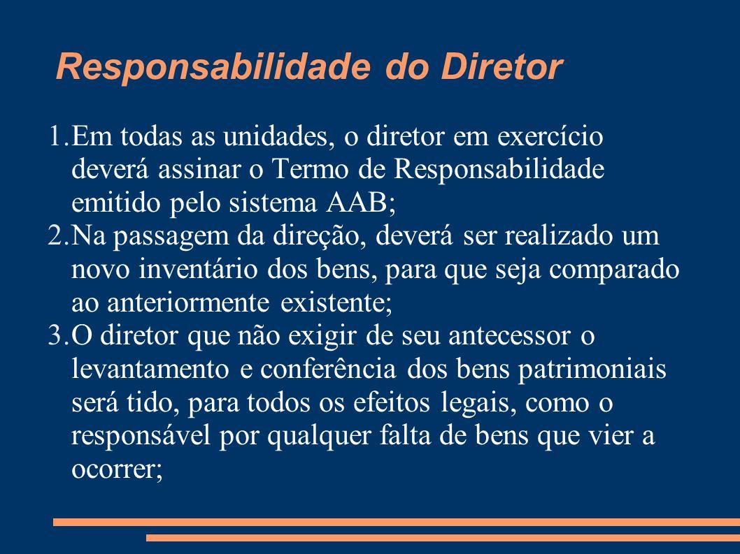 1.Em todas as unidades, o diretor em exercício deverá assinar o Termo de Responsabilidade emitido pelo sistema AAB; 2.Na passagem da direção, deverá s