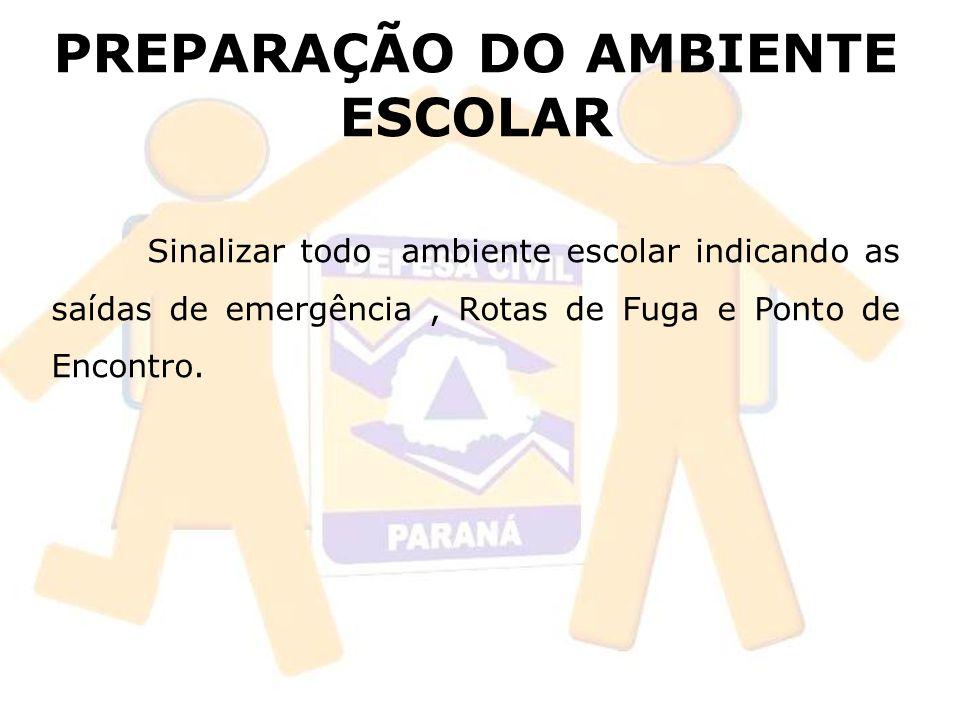 PREPARAÇÃO DO AMBIENTE ESCOLAR Sinalizar todo ambiente escolar indicando as saídas de emergência, Rotas de Fuga e Ponto de Encontro.