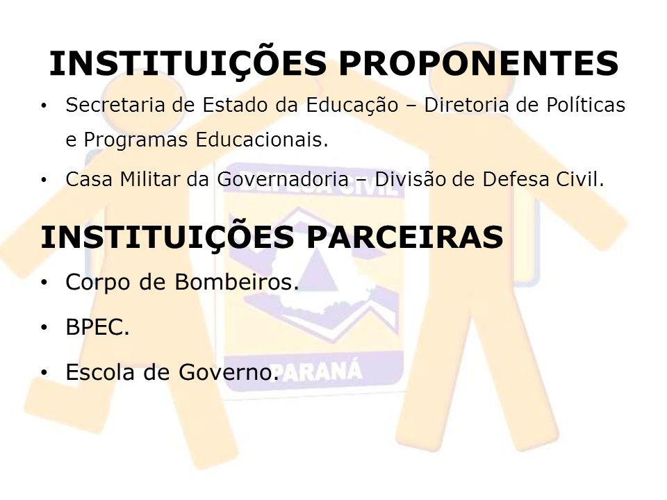 INSTITUIÇÕES PROPONENTES Secretaria de Estado da Educação – Diretoria de Políticas e Programas Educacionais.