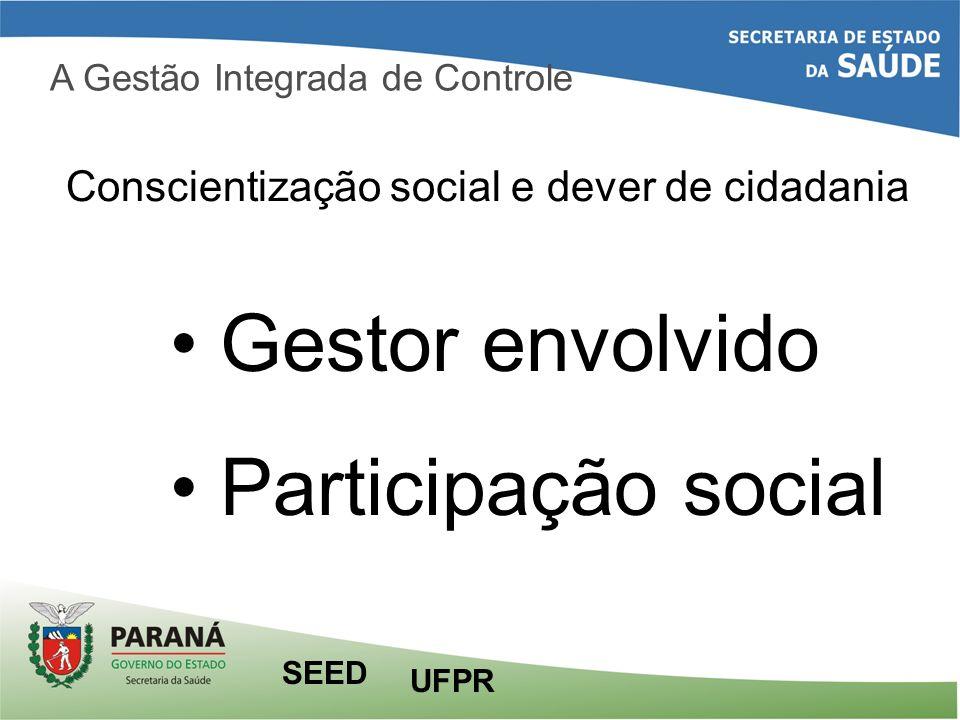A Gestão Integrada de Controle Conscientização social e dever de cidadania Gestor envolvido Participação social UFPR SEED