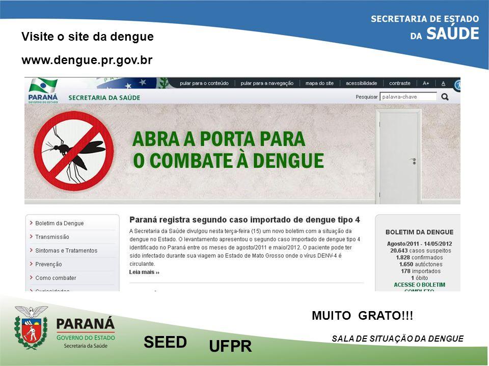 MUITO GRATO!!! Visite o site da dengue www.dengue.pr.gov.br UFPR SEED SALA DE SITUAÇÃO DA DENGUE
