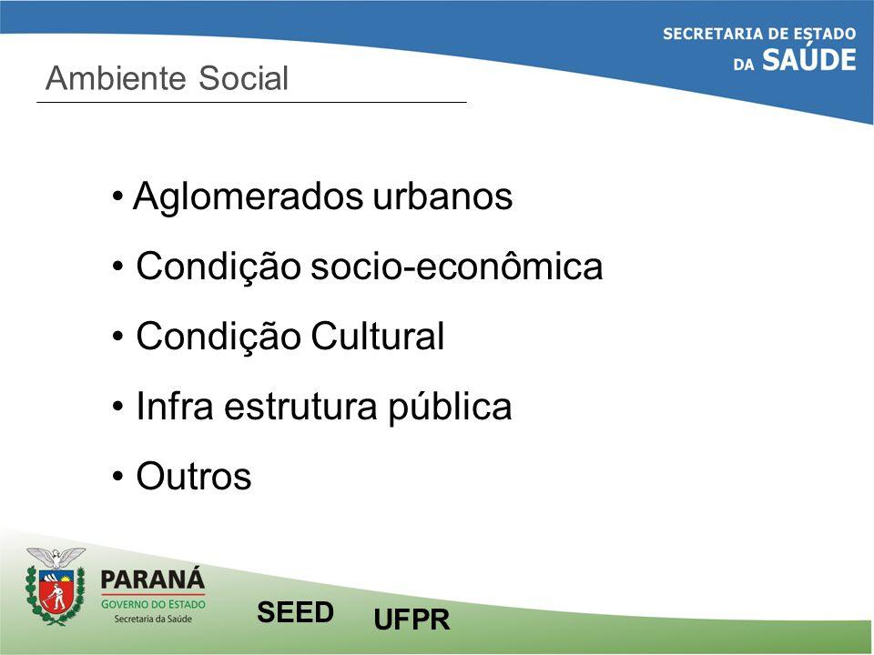 Ambiente Social Aglomerados urbanos Condição socio-econômica Condição Cultural Infra estrutura pública Outros UFPR SEED
