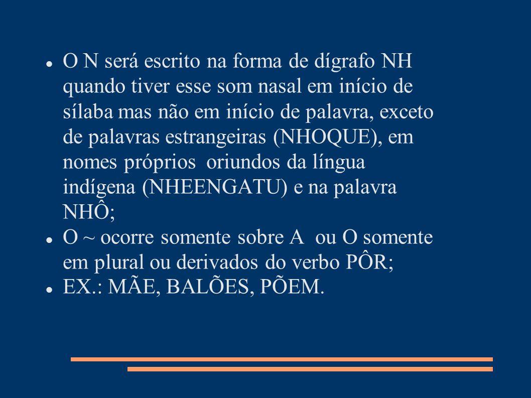 O N será escrito na forma de dígrafo NH quando tiver esse som nasal em início de sílaba mas não em início de palavra, exceto de palavras estrangeiras
