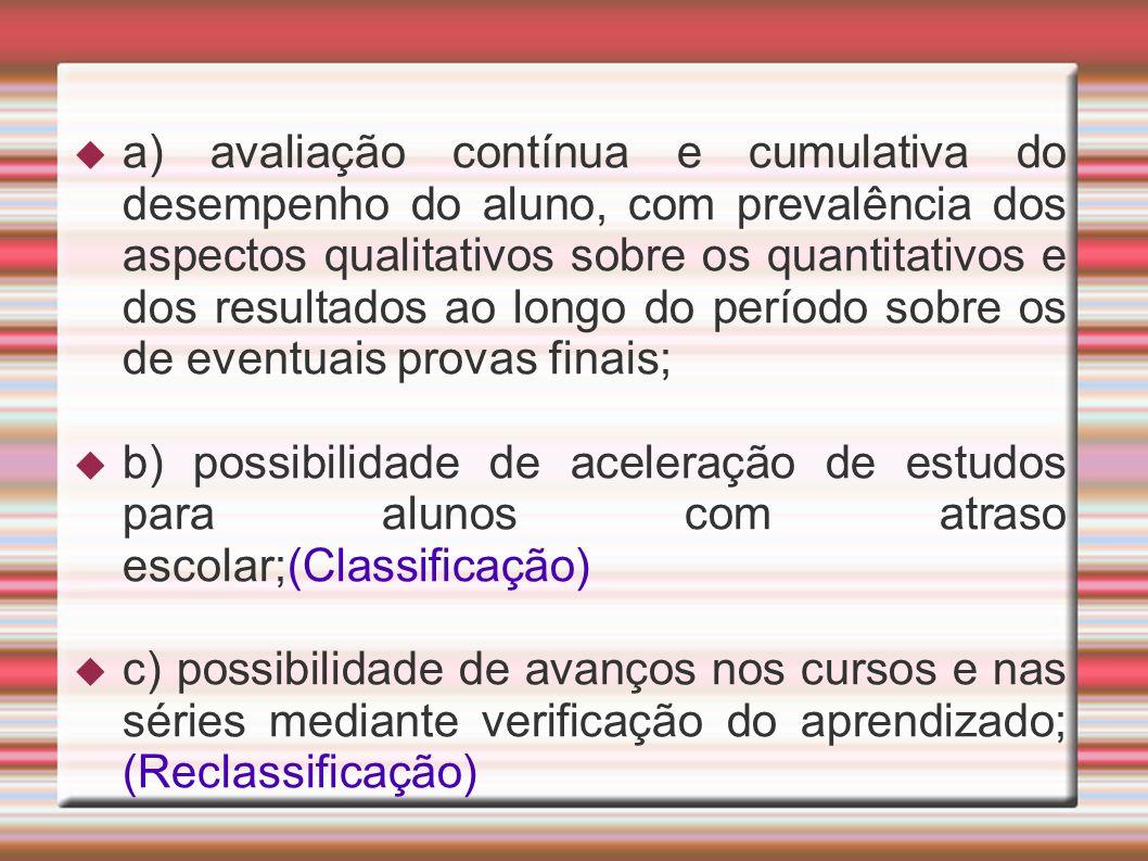 a) avaliação contínua e cumulativa do desempenho do aluno, com prevalência dos aspectos qualitativos sobre os quantitativos e dos resultados ao longo