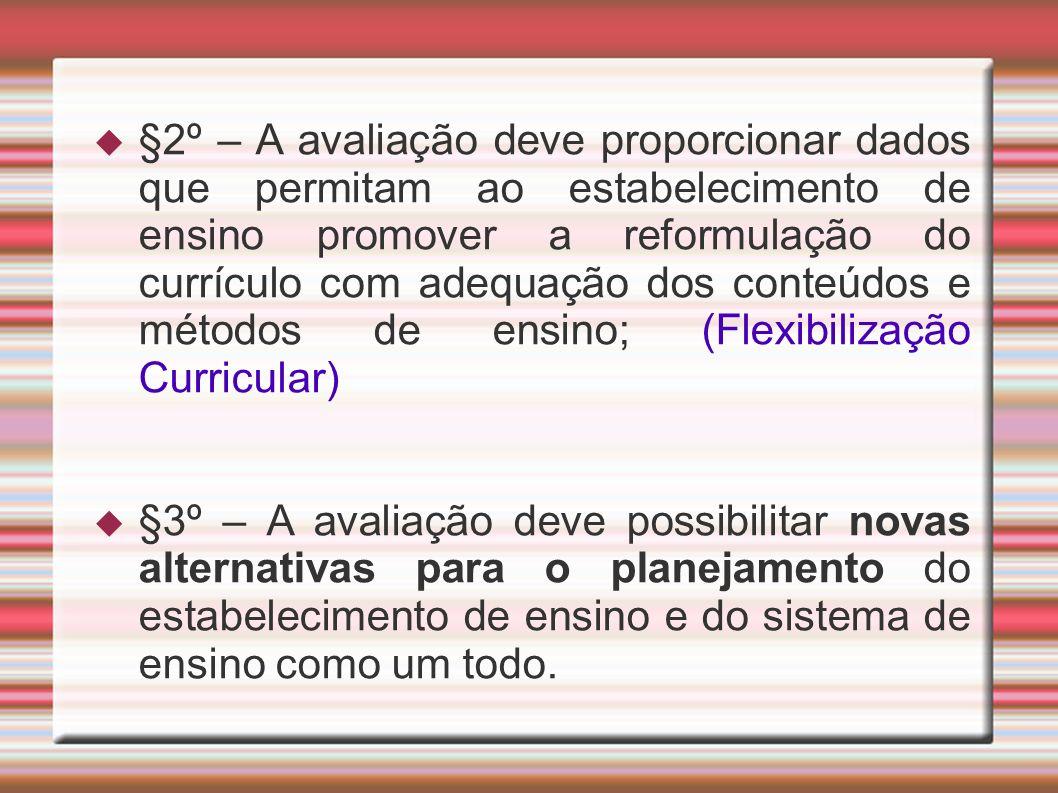 §2º – A avaliação deve proporcionar dados que permitam ao estabelecimento de ensino promover a reformulação do currículo com adequação dos conteúdos e