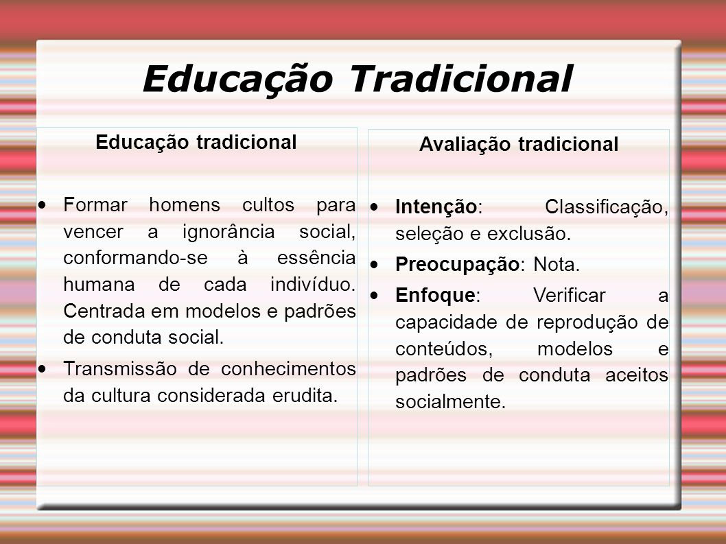 Educação Tradicional Educação tradicional Formar homens cultos para vencer a ignorância social, conformando-se à essência humana de cada indivíduo. Ce