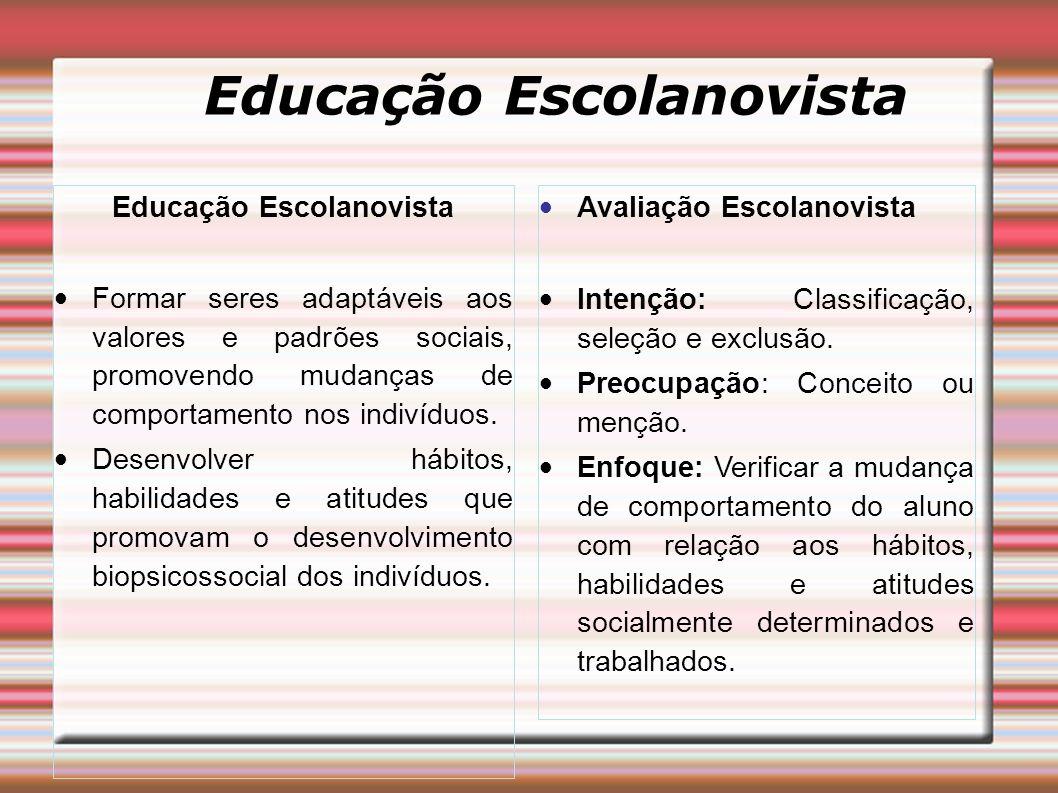 Educação Escolanovista Formar seres adaptáveis aos valores e padrões sociais, promovendo mudanças de comportamento nos indivíduos. Desenvolver hábitos