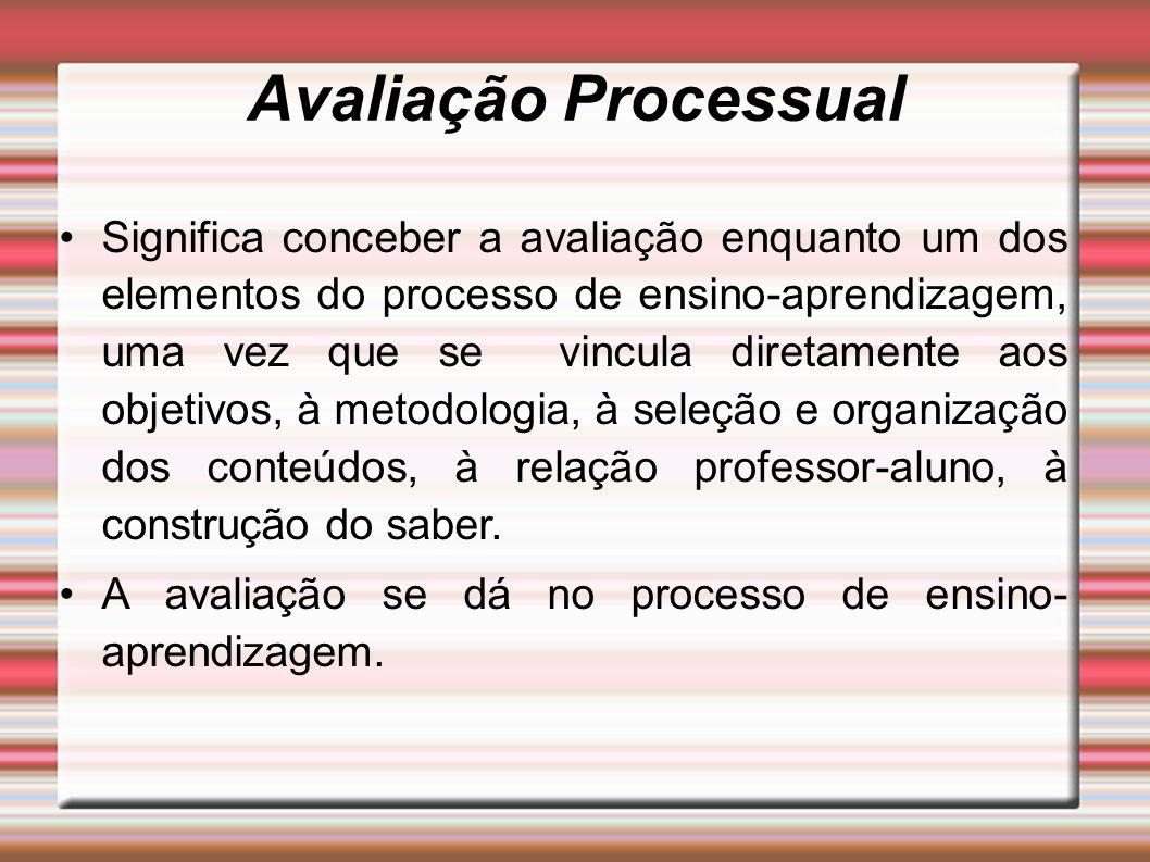 Avaliação Processual Significa conceber a avaliação enquanto um dos elementos do processo de ensino-aprendizagem, uma vez que se vincula diretamente a