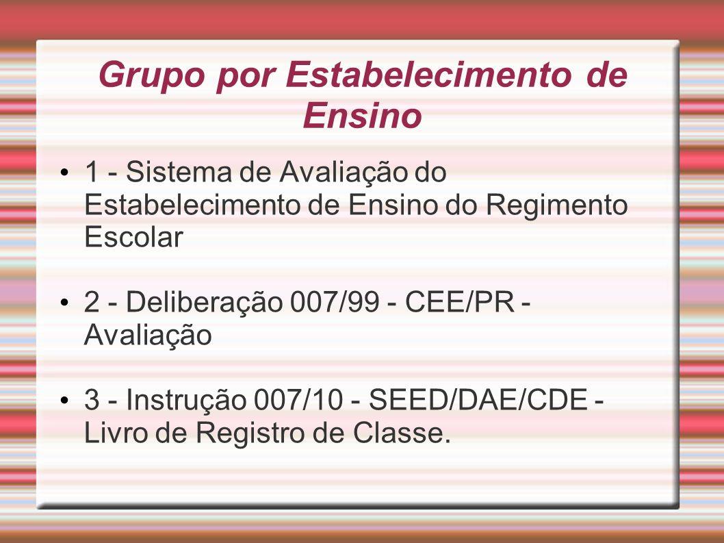 Grupo por Estabelecimento de Ensino 1 - Sistema de Avaliação do Estabelecimento de Ensino do Regimento Escolar 2 - Deliberação 007/99 - CEE/PR - Avali