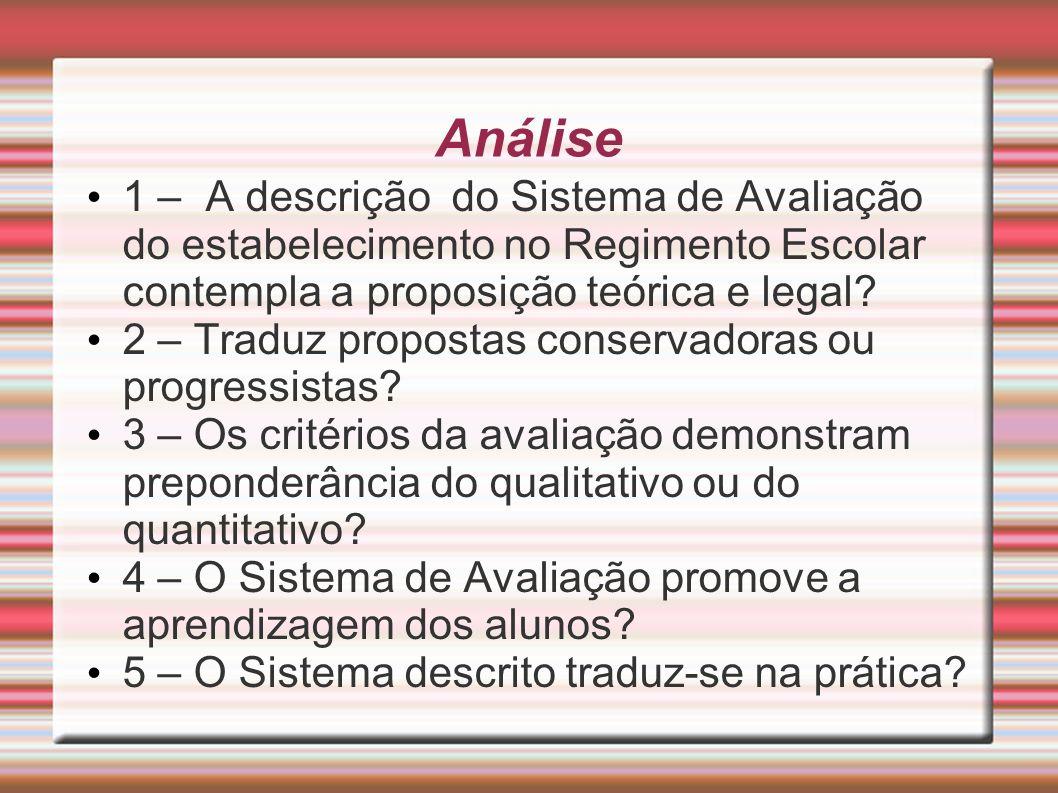 Análise 1 – A descrição do Sistema de Avaliação do estabelecimento no Regimento Escolar contempla a proposição teórica e legal? 2 – Traduz propostas c