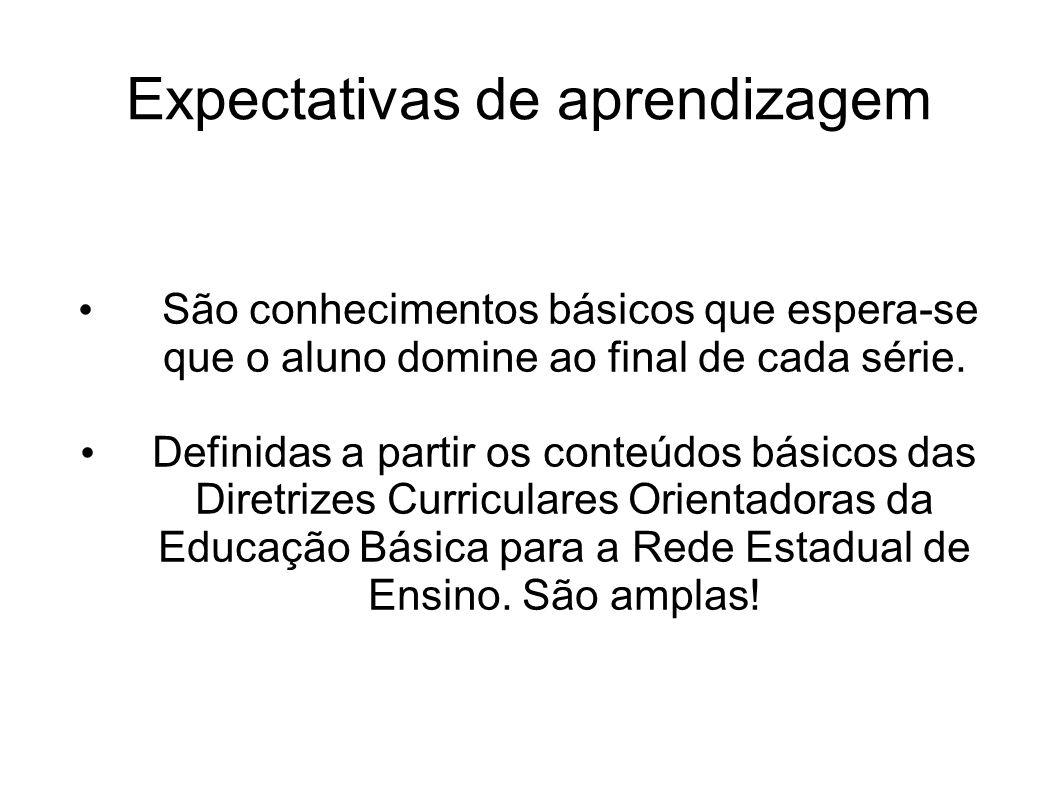 Expectativas de aprendizagem São conhecimentos básicos que espera-se que o aluno domine ao final de cada série. Definidas a partir os conteúdos básico