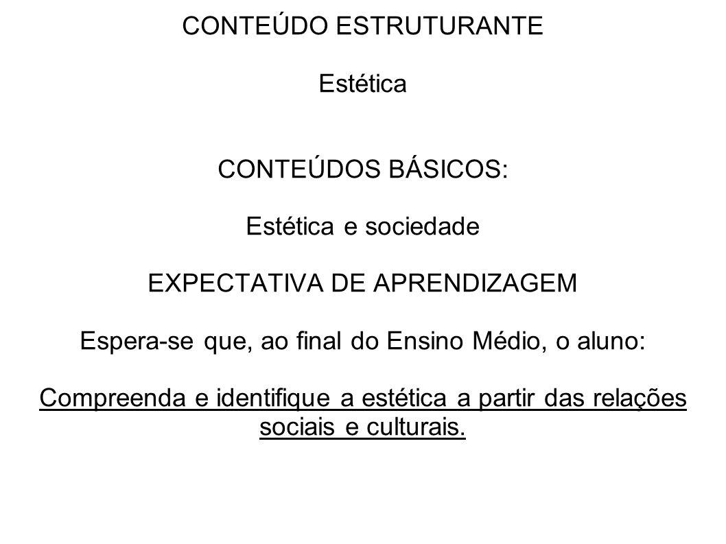 CONTEÚDO ESTRUTURANTE Estética CONTEÚDOS BÁSICOS: Estética e sociedade EXPECTATIVA DE APRENDIZAGEM Espera-se que, ao final do Ensino Médio, o aluno: C