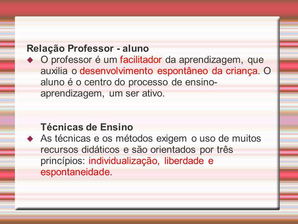 Relação Professor - aluno O professor é um facilitador da aprendizagem, que auxilia o desenvolvimento espontâneo da criança. O aluno é o centro do pro