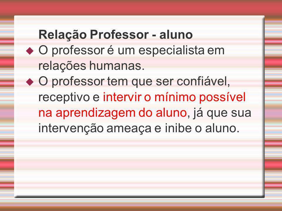 Relação Professor - aluno O professor é um especialista em relações humanas. O professor tem que ser confiável, receptivo e intervir o mínimo possível