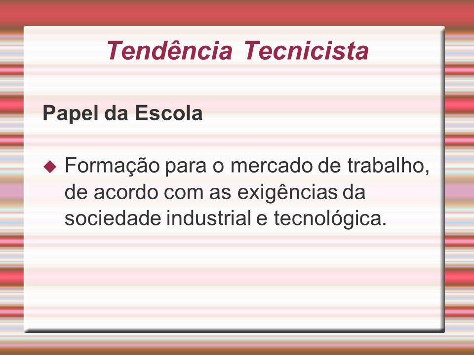 Tendência Tecnicista Papel da Escola Formação para o mercado de trabalho, de acordo com as exigências da sociedade industrial e tecnológica.