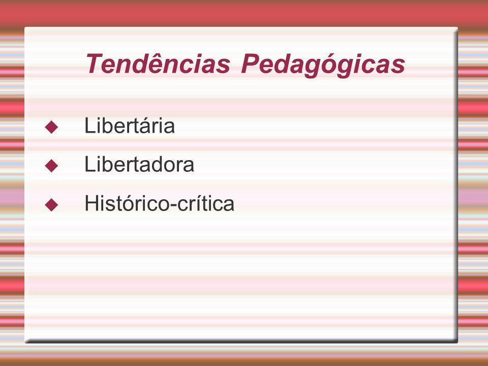 Tendências Pedagógicas Libertária Libertadora Histórico-crítica