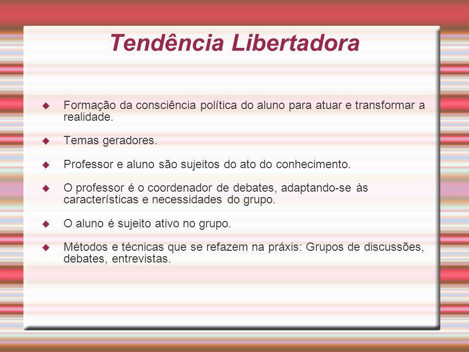 Tendência Libertadora Formação da consciência política do aluno para atuar e transformar a realidade. Temas geradores. Professor e aluno são sujeitos