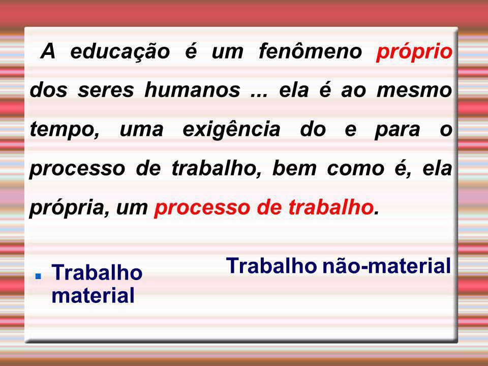 A educação é um fenômeno próprio dos seres humanos... ela é ao mesmo tempo, uma exigência do e para o processo de trabalho, bem como é, ela própria, u