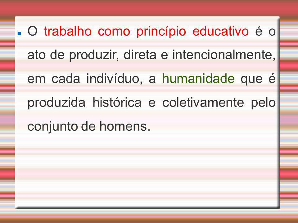 O trabalho como princípio educativo é o ato de produzir, direta e intencionalmente, em cada indivíduo, a humanidade que é produzida histórica e coleti