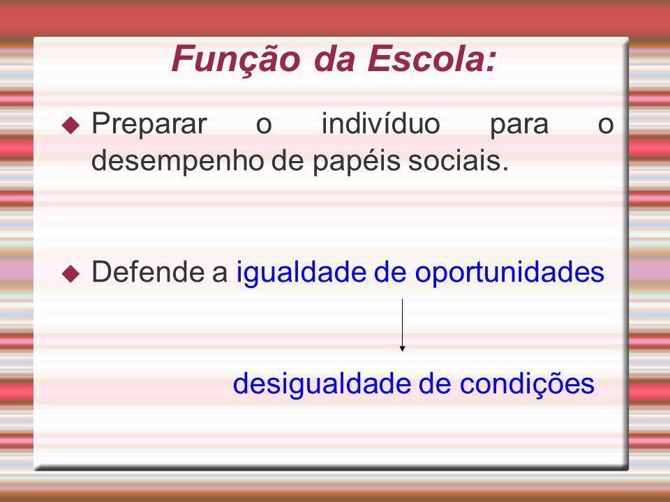 Função da Escola: Preparar o indivíduo para o desempenho de papéis sociais. Defende a igualdade de oportunidades desigualdade de condições