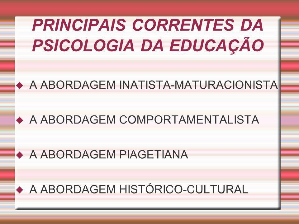 PRINCIPAIS CORRENTES DA PSICOLOGIA DA EDUCAÇÃO A ABORDAGEM INATISTA-MATURACIONISTA A ABORDAGEM COMPORTAMENTALISTA A ABORDAGEM PIAGETIANA A ABORDAGEM H