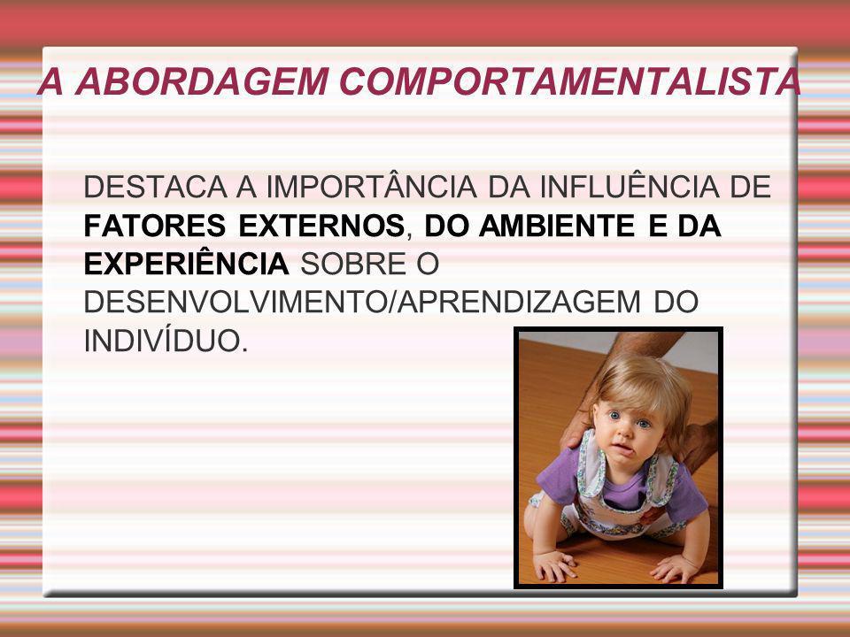 A ABORDAGEM COMPORTAMENTALISTA DESTACA A IMPORTÂNCIA DA INFLUÊNCIA DE FATORES EXTERNOS, DO AMBIENTE E DA EXPERIÊNCIA SOBRE O DESENVOLVIMENTO/APRENDIZA