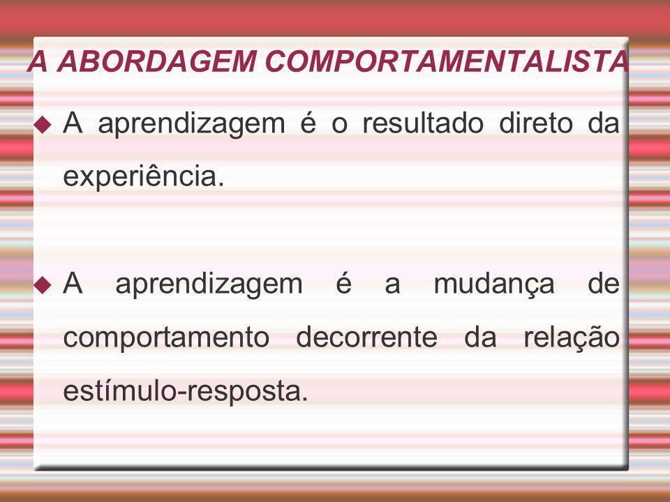 A ABORDAGEM COMPORTAMENTALISTA A aprendizagem é o resultado direto da experiência. A aprendizagem é a mudança de comportamento decorrente da relação e