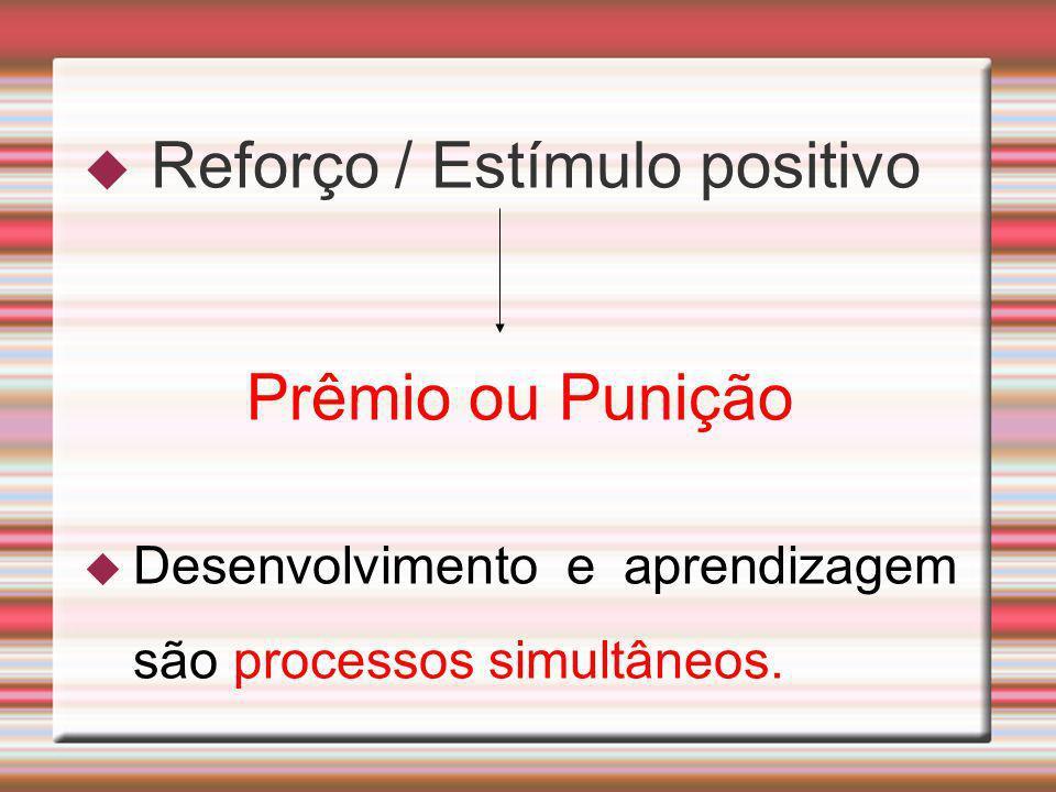 Reforço / Estímulo positivo Prêmio ou Punição Desenvolvimento e aprendizagem são processos simultâneos.