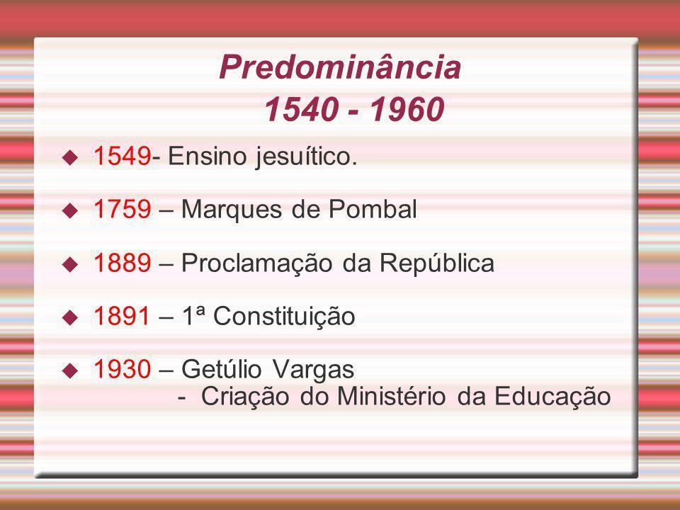 Predominância 1540 - 1960 1549- Ensino jesuítico. 1759 – Marques de Pombal 1889 – Proclamação da República 1891 – 1ª Constituição 1930 – Getúlio Varga