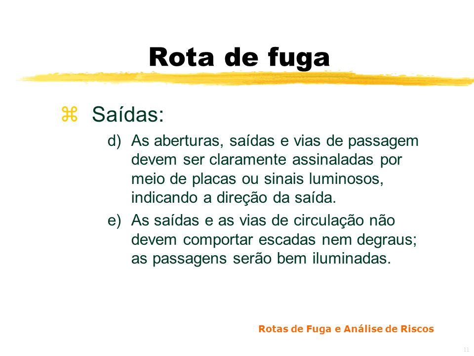Rotas de Fuga e Análise de Riscos 11 Rota de fuga zSaídas: d)As aberturas, saídas e vias de passagem devem ser claramente assinaladas por meio de placas ou sinais luminosos, indicando a direção da saída.