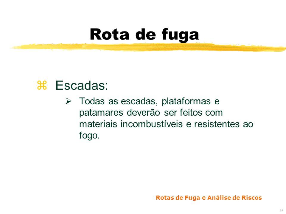 Rotas de Fuga e Análise de Riscos 14 Rota de fuga zEscadas: Todas as escadas, plataformas e patamares deverão ser feitos com materiais incombustíveis e resistentes ao fogo.