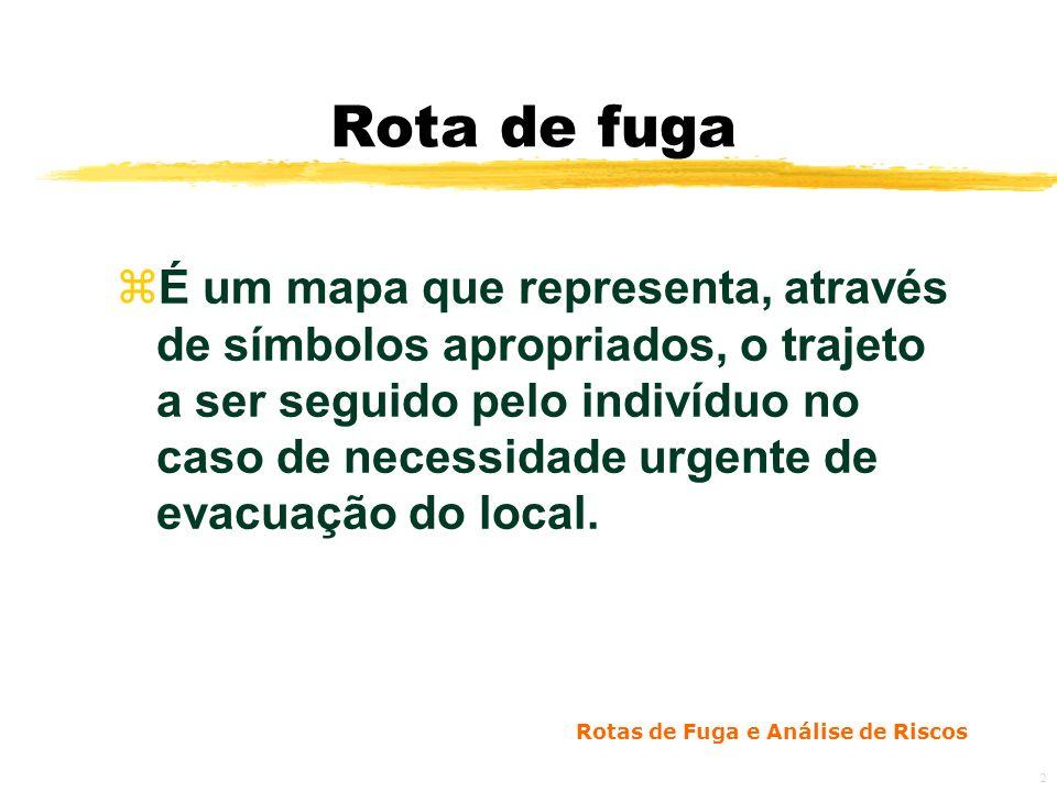 Rotas de Fuga e Análise de Riscos 2 Rota de fuga zÉ um mapa que representa, através de símbolos apropriados, o trajeto a ser seguido pelo indivíduo no caso de necessidade urgente de evacuação do local.