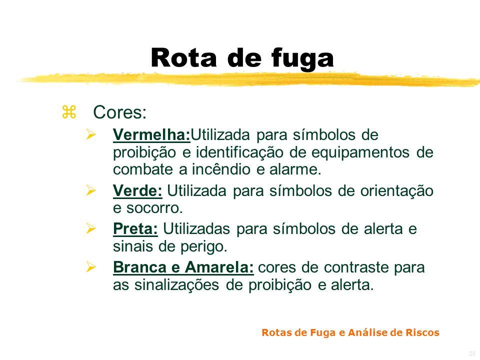 Rotas de Fuga e Análise de Riscos 20 Rota de fuga zCores: Vermelha:Utilizada para símbolos de proibição e identificação de equipamentos de combate a incêndio e alarme.