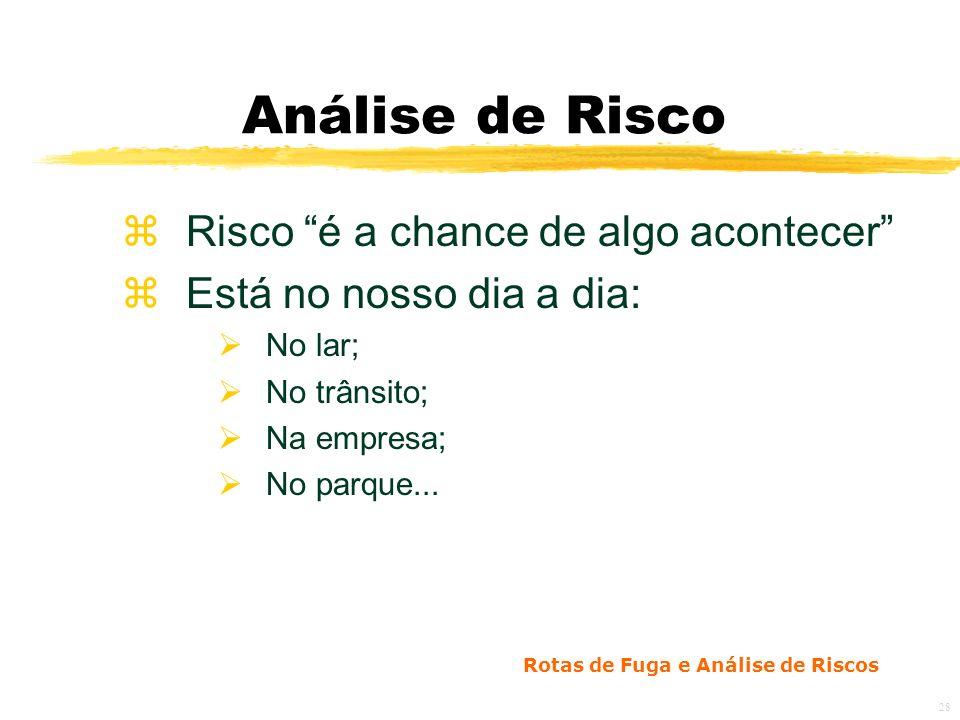 Rotas de Fuga e Análise de Riscos 28 Análise de Risco zRisco é a chance de algo acontecer zEstá no nosso dia a dia: No lar; No trânsito; Na empresa; No parque...
