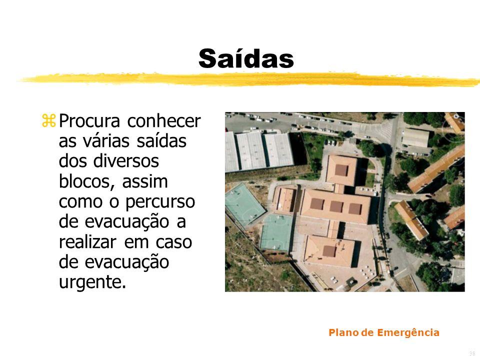 38 Saídas zProcura conhecer as várias saídas dos diversos blocos, assim como o percurso de evacuação a realizar em caso de evacuação urgente.