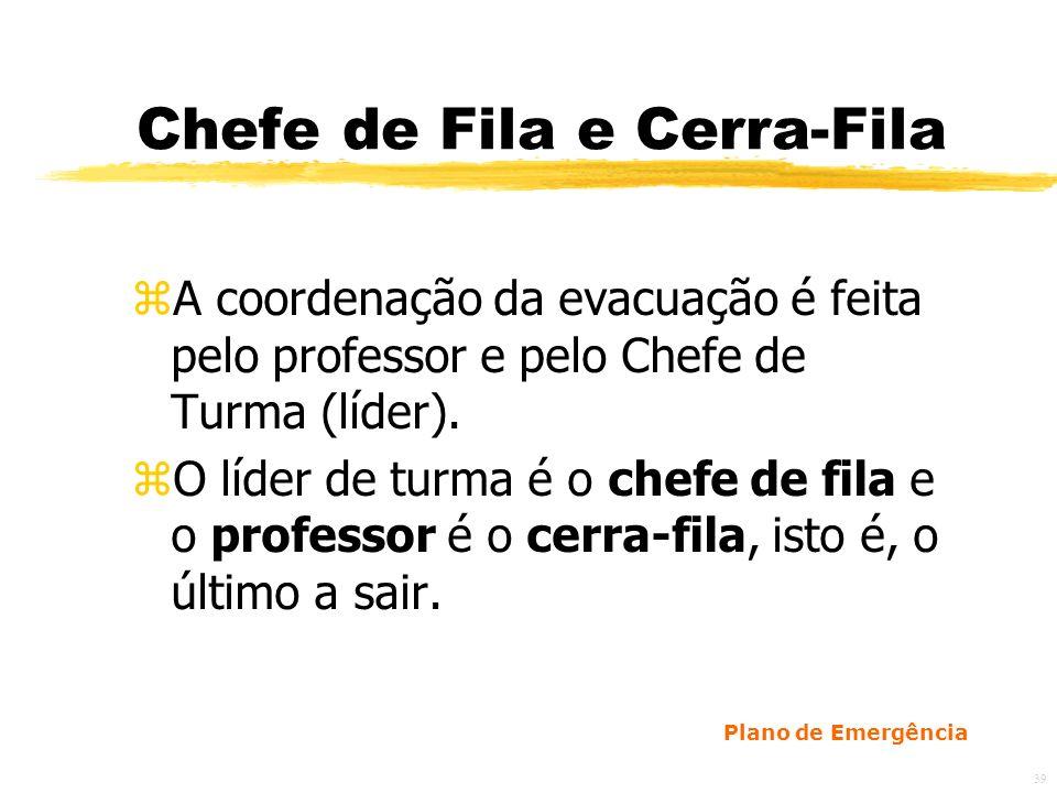 39 Chefe de Fila e Cerra-Fila zA coordenação da evacuação é feita pelo professor e pelo Chefe de Turma (líder).