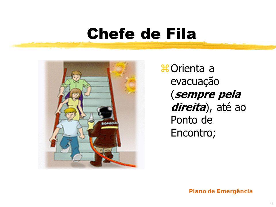 41 Chefe de Fila zOrienta a evacuação (sempre pela direita), até ao Ponto de Encontro; Plano de Emergência