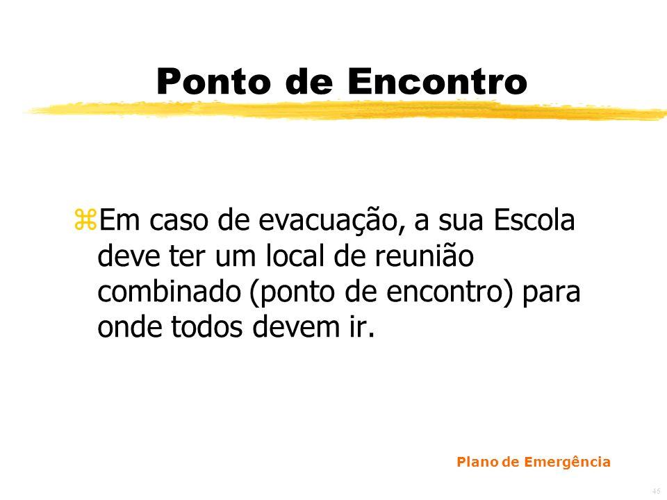 46 Ponto de Encontro zEm caso de evacuação, a sua Escola deve ter um local de reunião combinado (ponto de encontro) para onde todos devem ir.