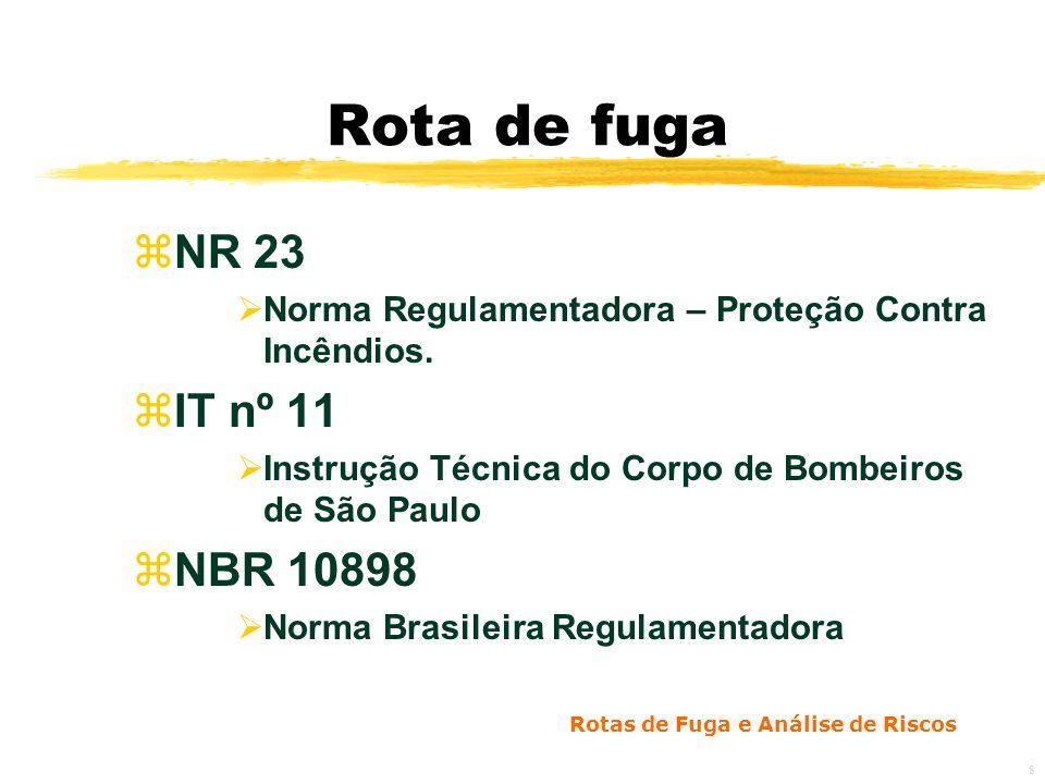 Rotas de Fuga e Análise de Riscos 8 Rota de fuga zNR 23 Norma Regulamentadora – Proteção Contra Incêndios.