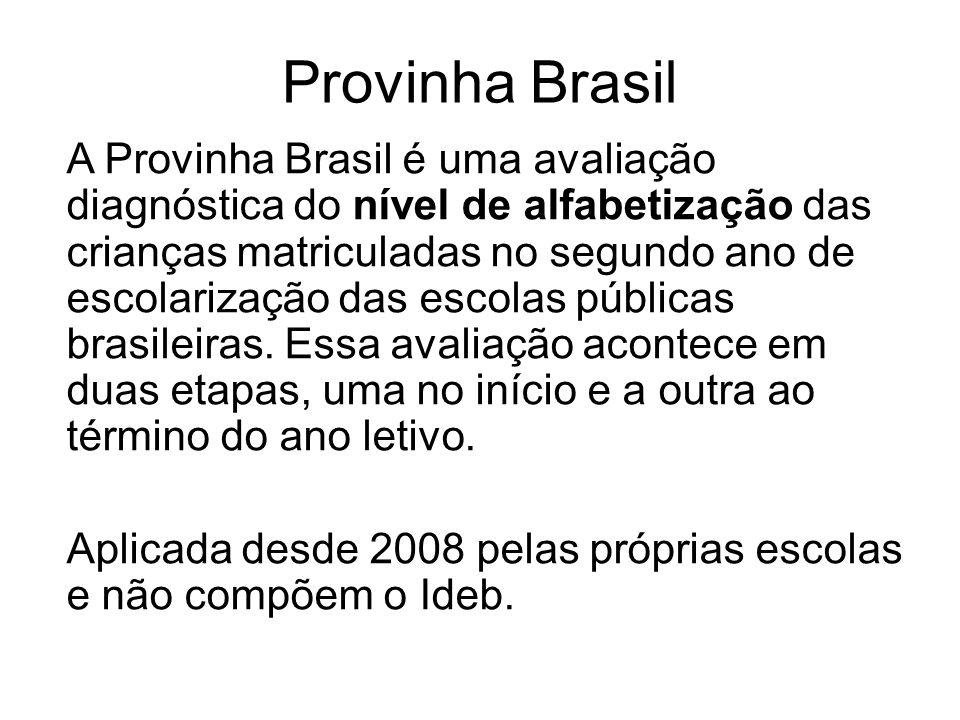Provinha Brasil A Provinha Brasil é uma avaliação diagnóstica do nível de alfabetização das crianças matriculadas no segundo ano de escolarização das escolas públicas brasileiras.