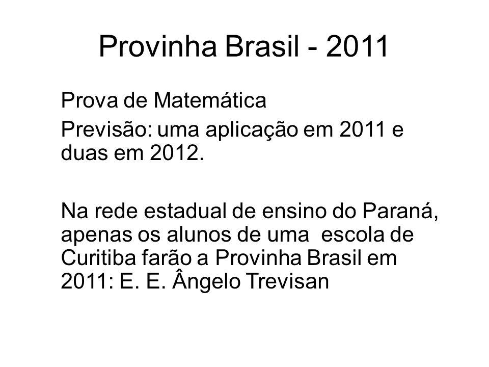 Provinha Brasil - 2011 Prova de Matemática Previsão: uma aplicação em 2011 e duas em 2012.